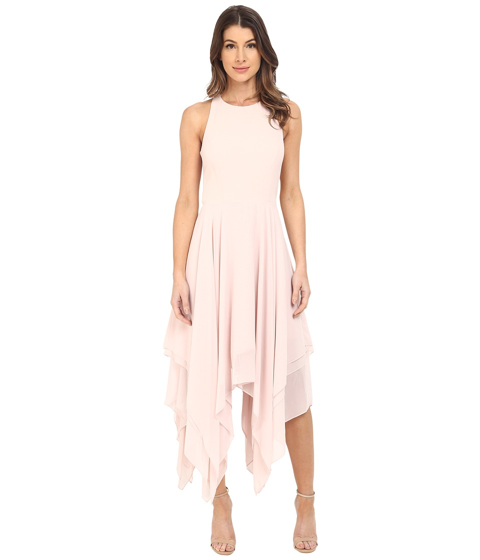 Aidan Mattox Hanky Hem Coktail Dress with Ladder Back Detail (Blush) Women