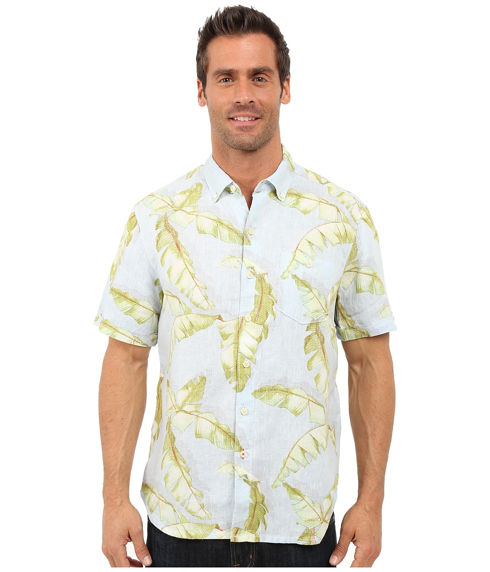 Tommy Bahama - South of Fronds Breezer Linen Camp Shirt (Soft Aqua) Men's Clothing
