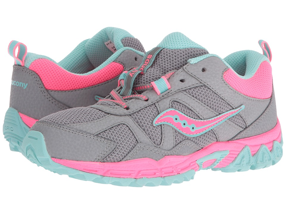 Saucony Kids Escape (Little Kid) (Grey/Coral/Turquoise) Girls Shoes