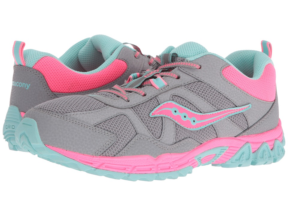 Saucony Kids Escape (Big Kid) (Grey/Coral/Turquoise) Girls Shoes