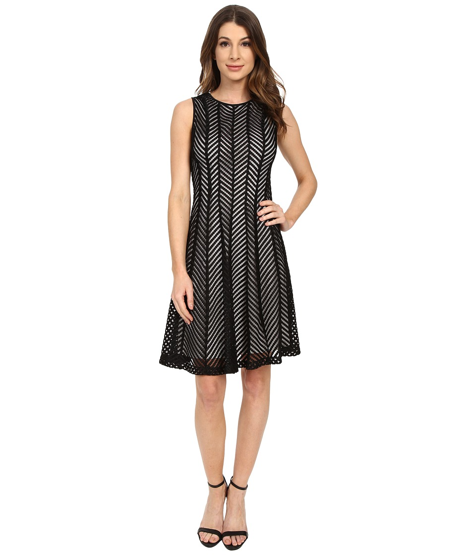 Calvin Klein - Fit Flare Mesh Stripe Dress (Black) Women's Dress