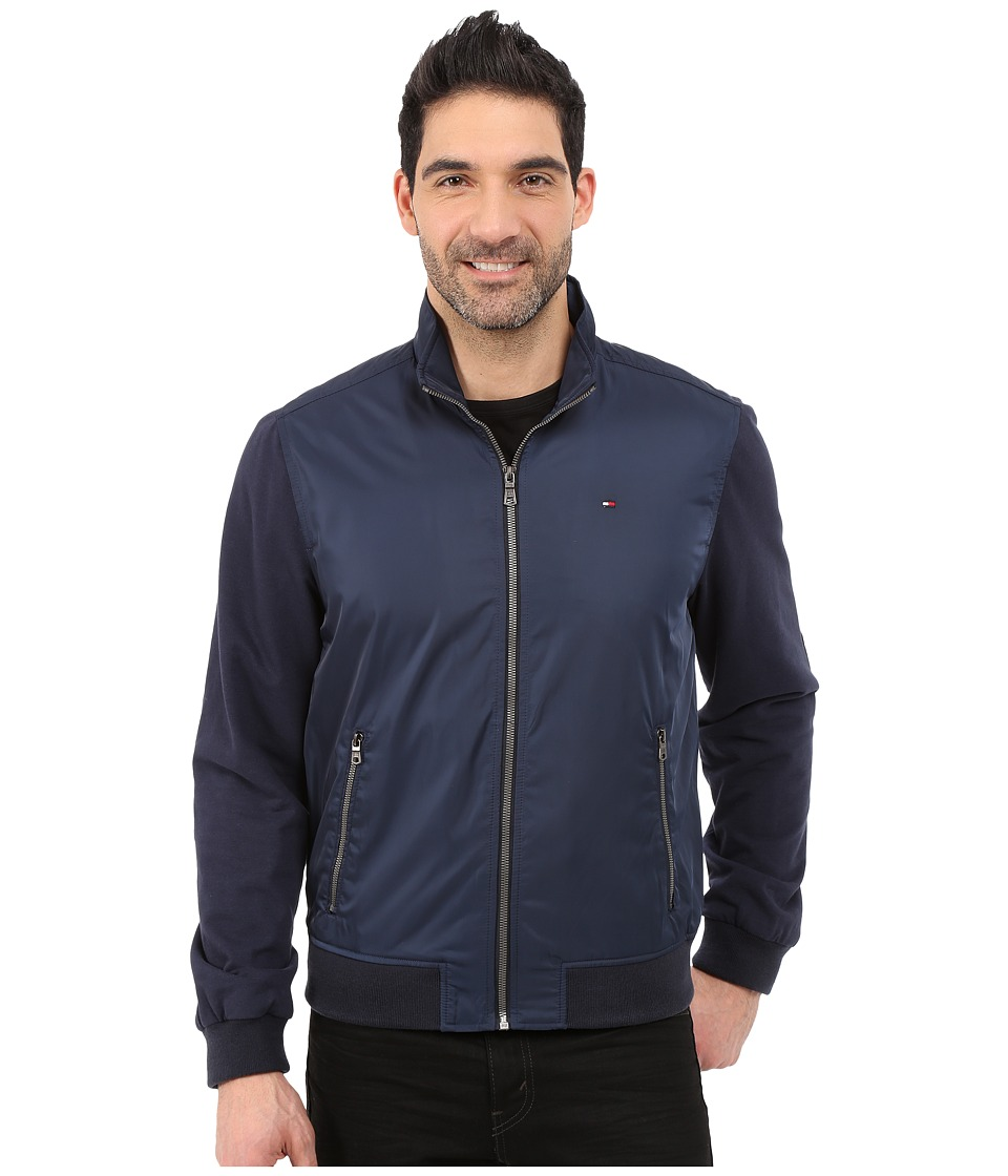 Tommy Hilfiger - Mixed Media Fleece/Poly Zip-Up (Navy) Men