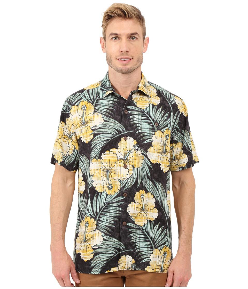 Tommy Bahama - Printed Plaid Hibiscus Camp Shirt (Coal) Men's Clothing