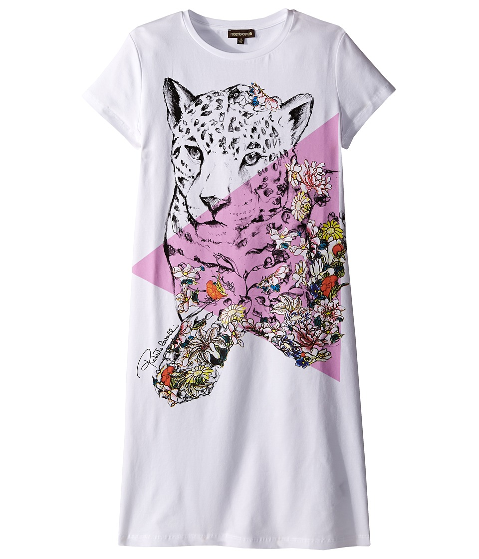 Roberto Cavalli Kids - Short Sleeve Leopard Graphic T-Shirt Dress (Big Kids) (White) Girl's Dress