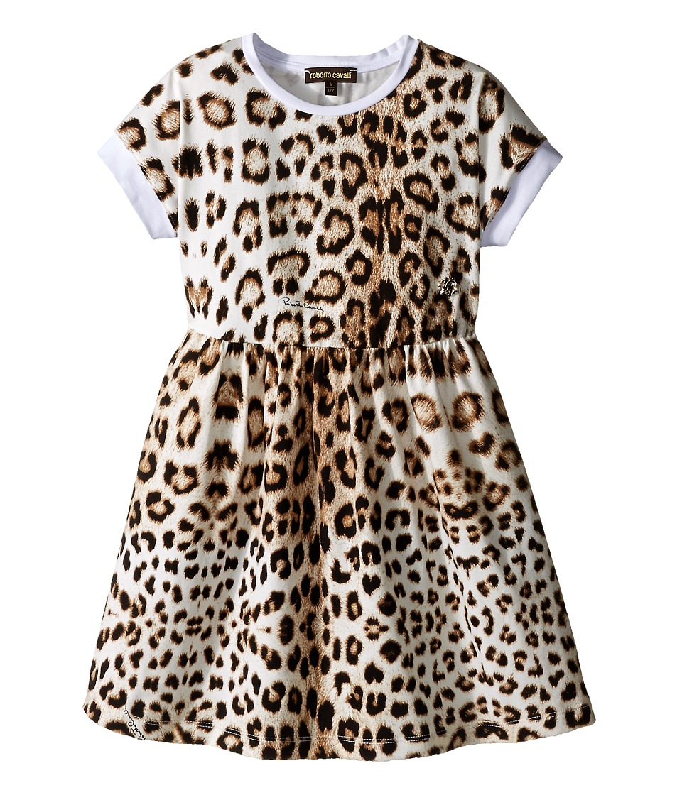 Roberto Cavalli Kids - Short Sleeve All Over Print Jersey Dress (Toddler/Little Kids) (Leopard) Girl's Dress