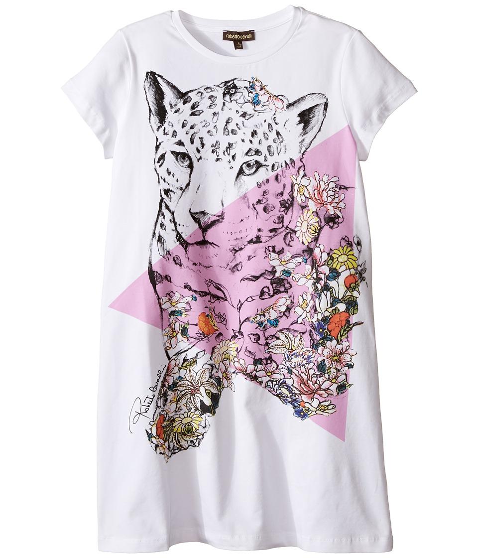 Roberto Cavalli Kids - Short Sleeve Leopard Graphic T-Shirt Dress (Big Kids) (White) Girl's Dress