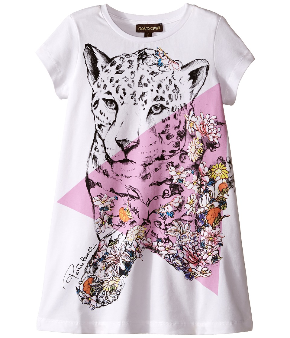 Roberto Cavalli Kids - Short Sleeve Leopard Graphic T-Shirt Dress (Toddler/Little Kids) (White) Girl's Dress