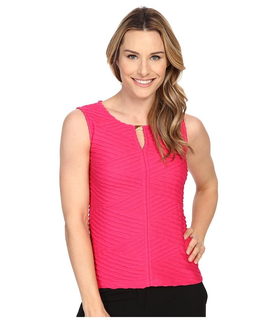 Calvin Klein - Textured Shell w/ Hardware (Hibiscus) Women's Sleeveless