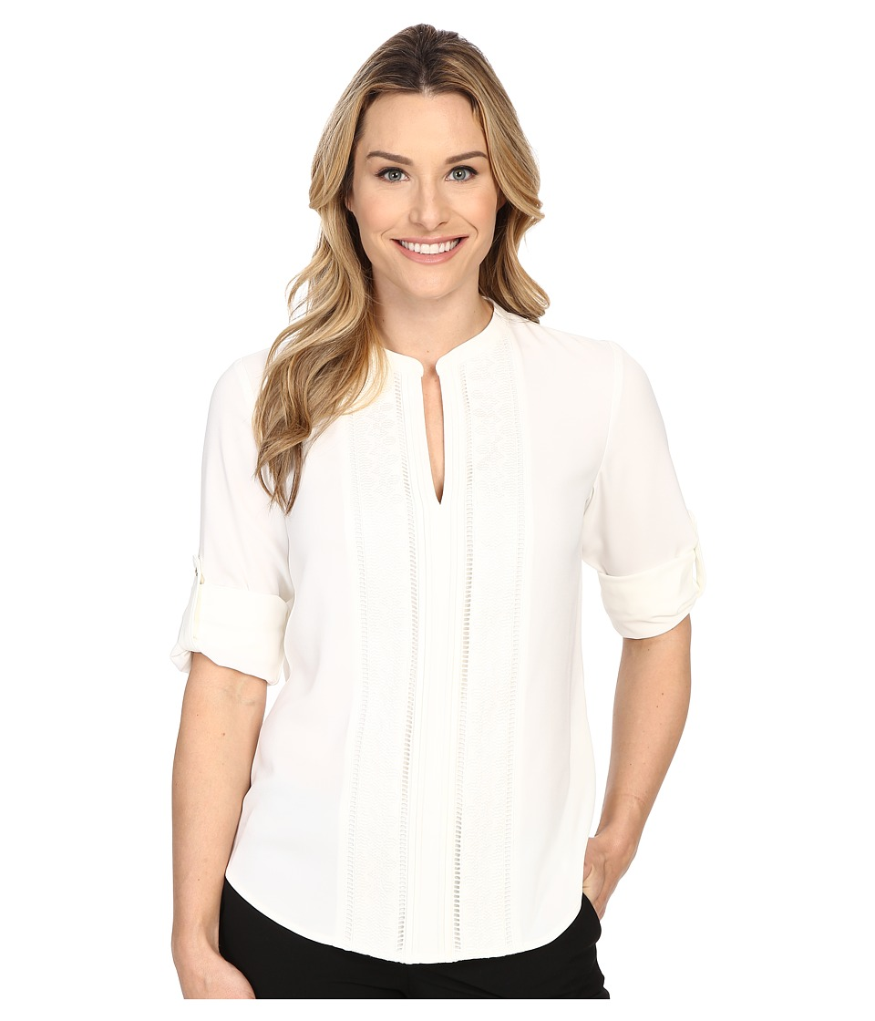 Calvin Klein - Roll Sleeve w/ Embroidery (Soft White) Women's Blouse
