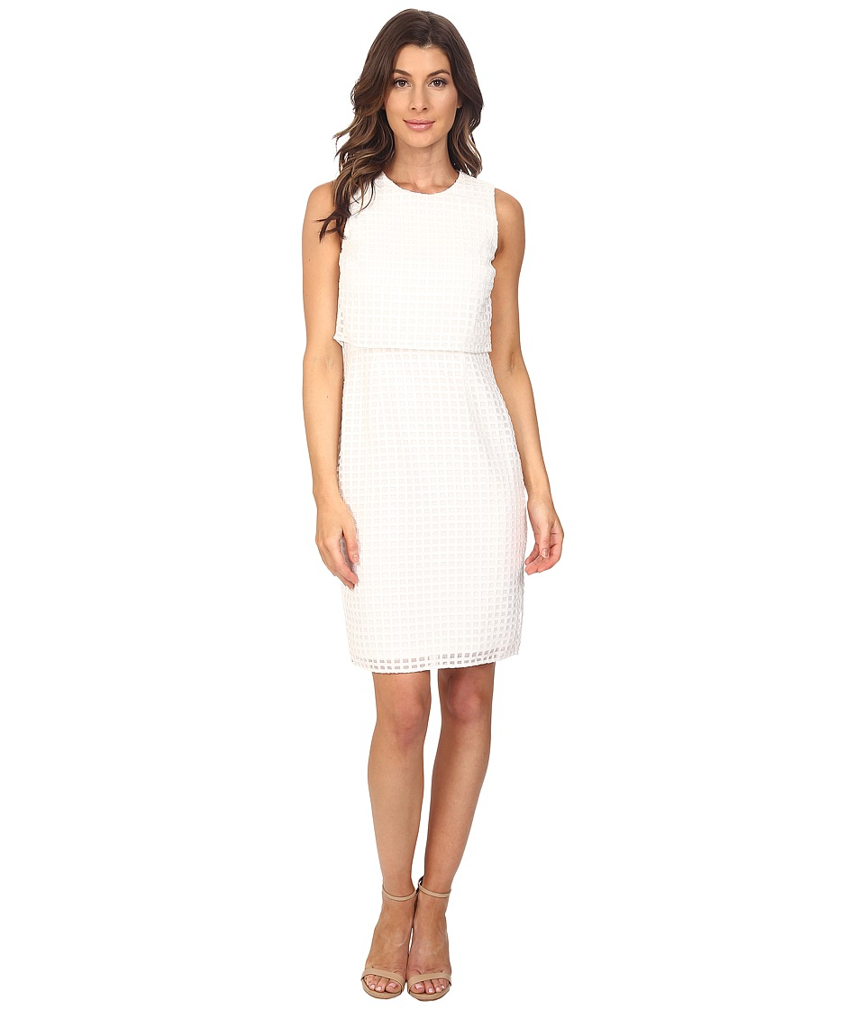 Calvin Klein - Sleeveless Window Double Layer Dress (Soft White) Women's Dress