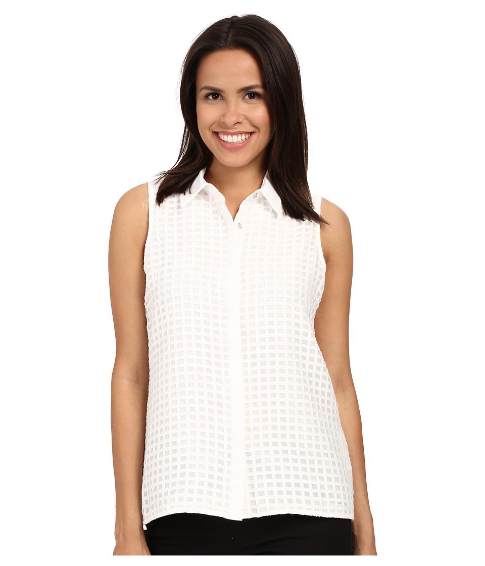 Calvin Klein - Sleeveless Windowpane Blouse (Soft White) Women's Blouse