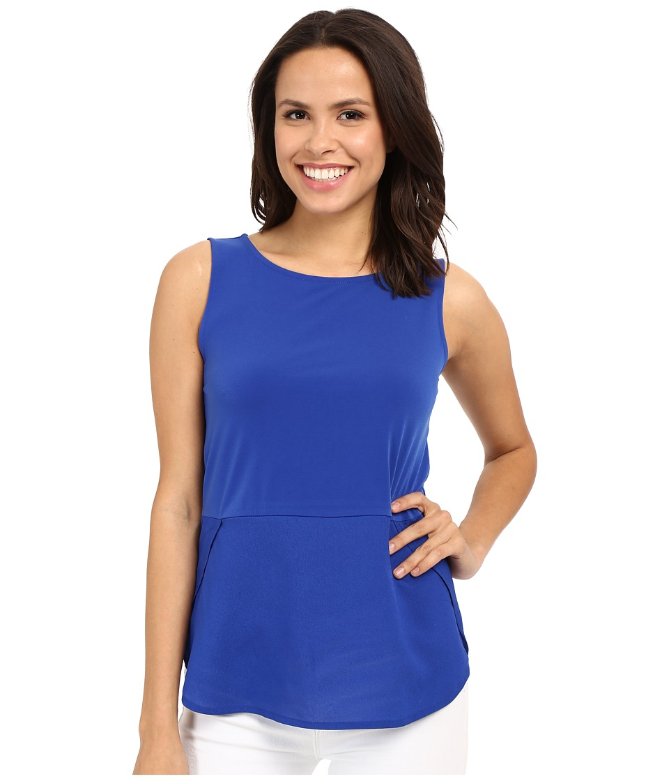 Calvin Klein - Sleeveless Top w/ Woven Bottom (Regatta) Women's Sleeveless