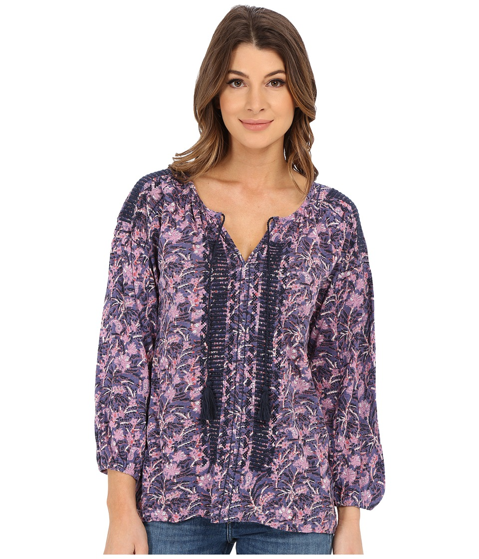 Lucky Brand - Embroidered Peasant Top (Purple Print) Women's Clothing