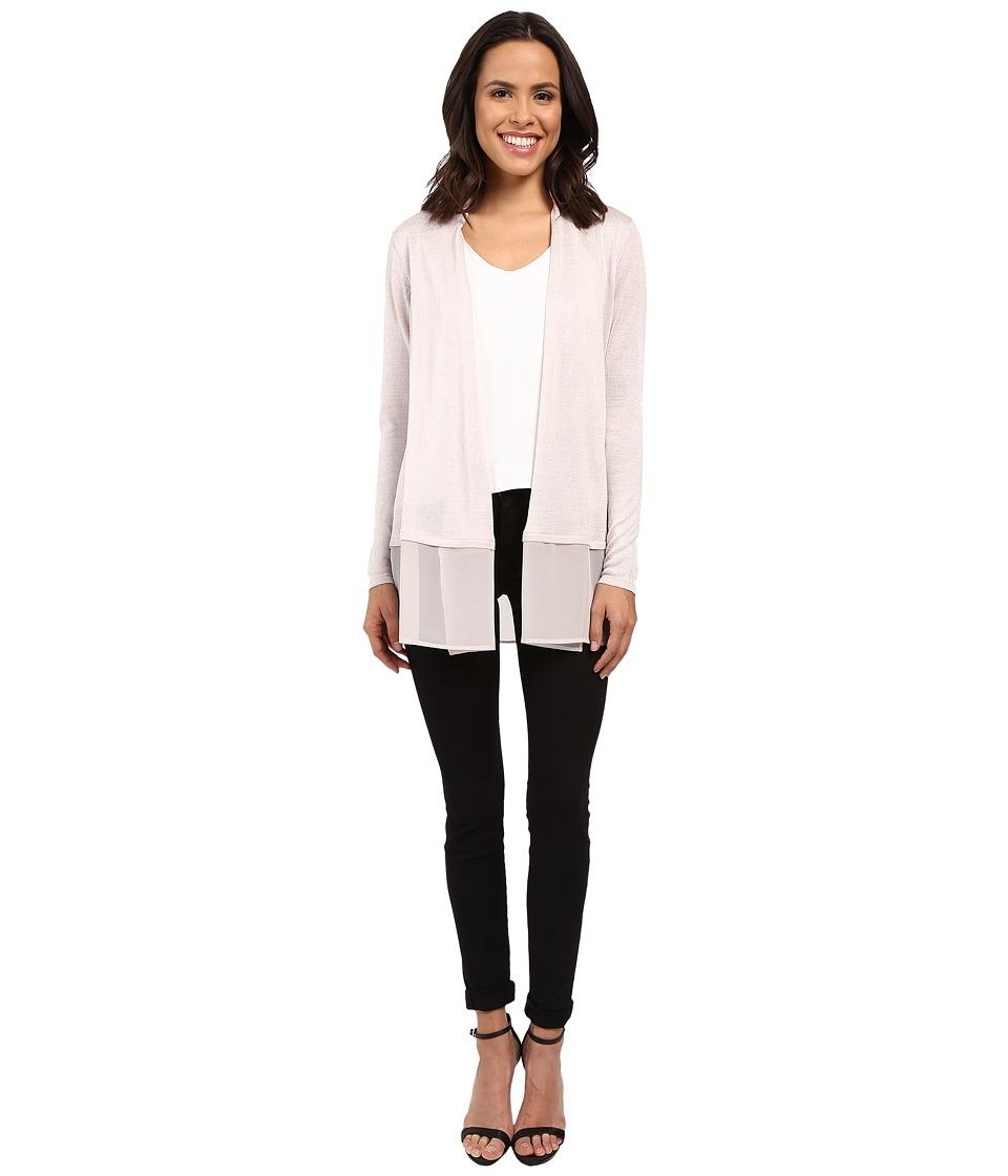 NIC+ZOE - Chiffon Trim Cardy (Pink Pearl) Women's Sweater