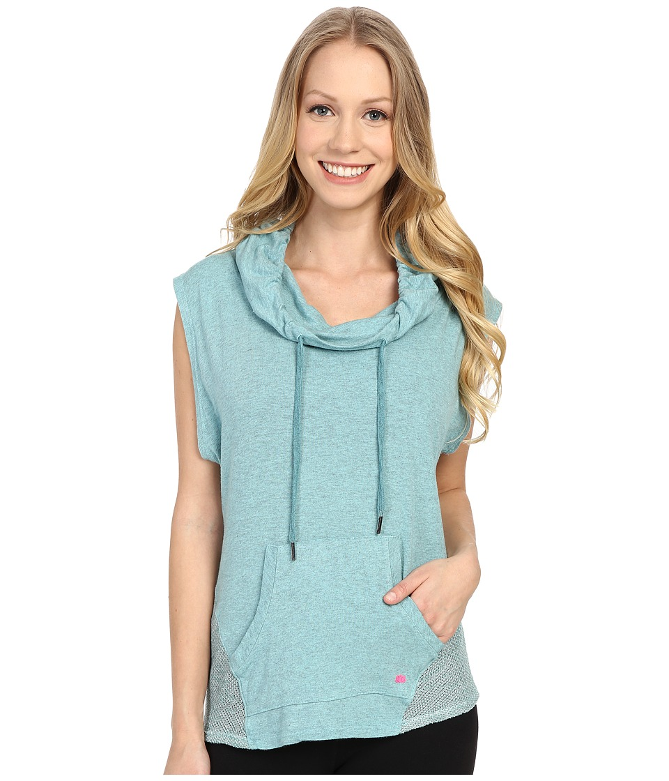 Pink Lotus - Ocean Waves Maintain Cowl Hoodie Vest w/ Front Pocket (Sea Blue) Women's Vest