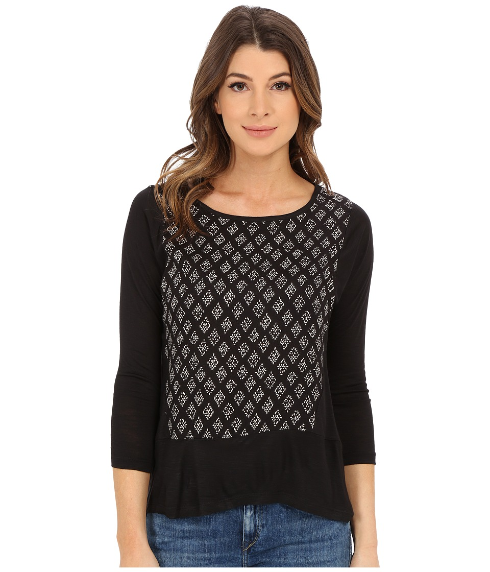 Lucky Brand - Woodblock Printed Top (Black/White) Women's T Shirt