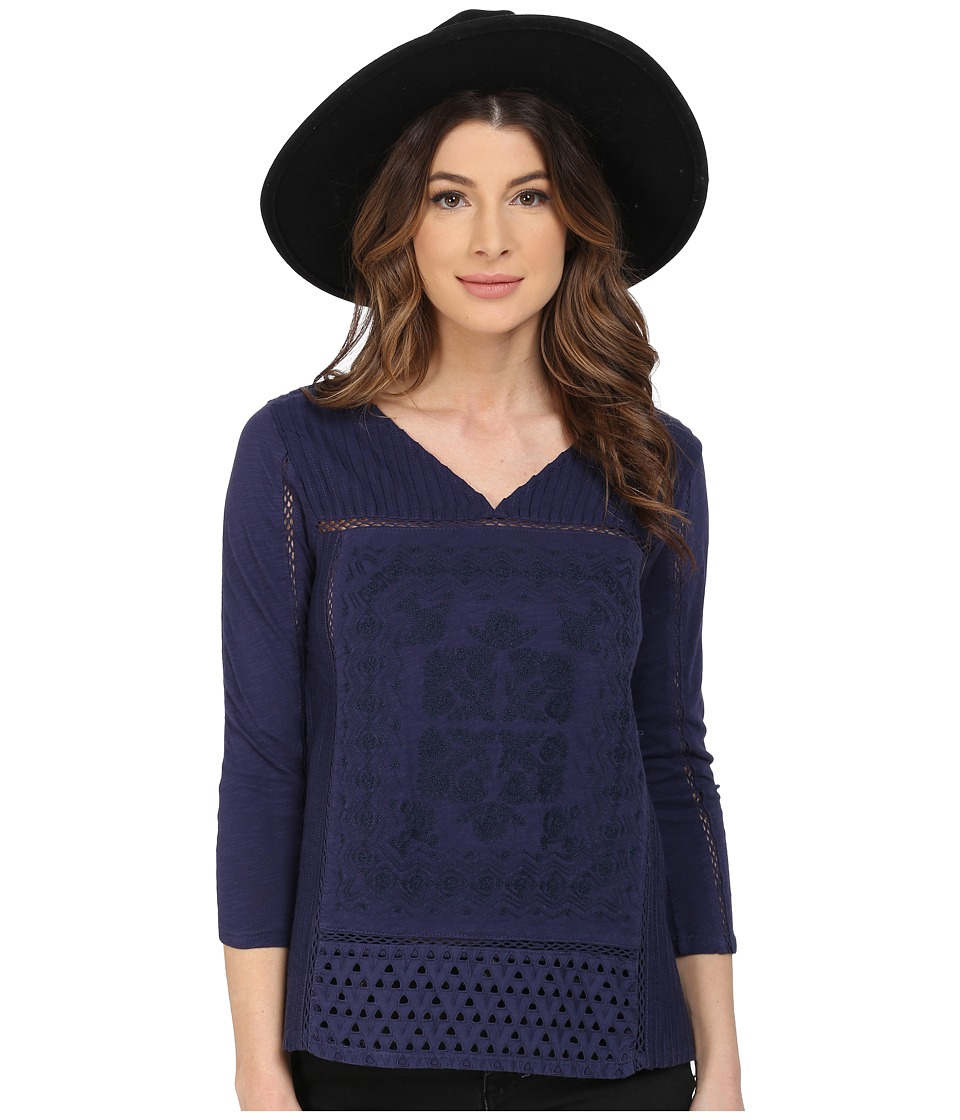 Lucky Brand Placed Embroidery Top (Eclipse) Women
