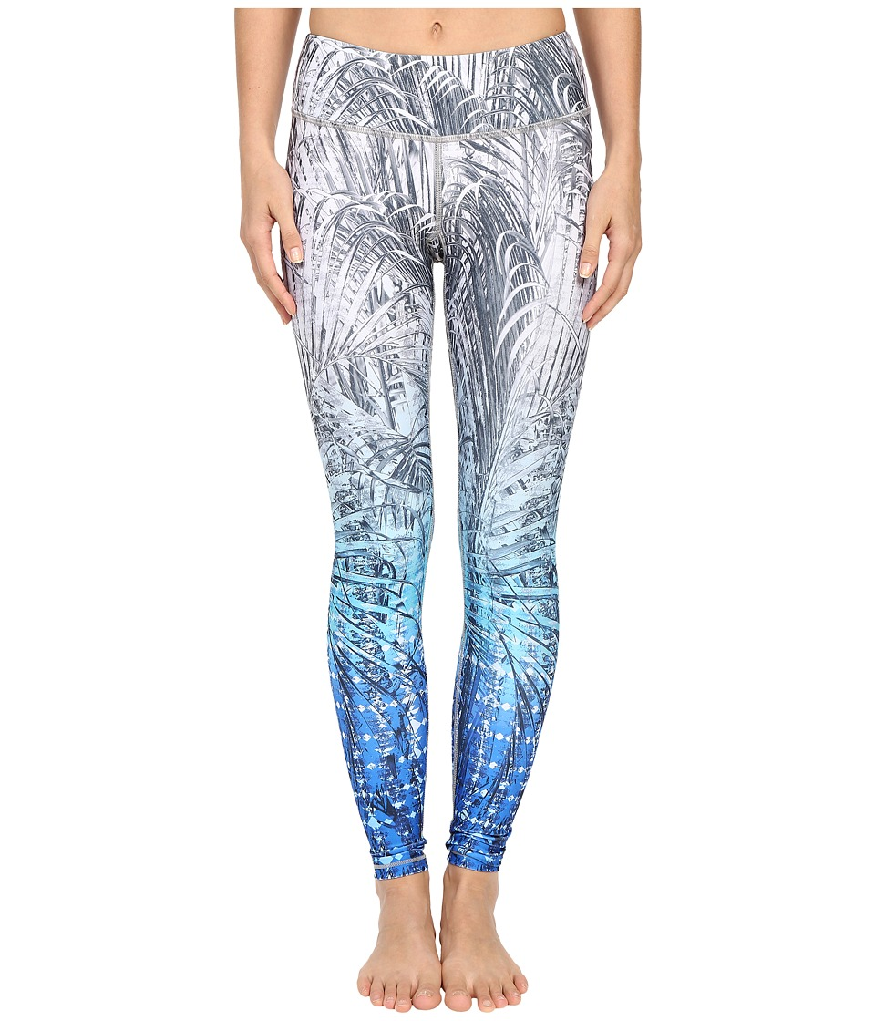 Pink Lotus - Stony Corals Orientate Ombre Printed Performance Leggings (Aquamarine) Women's Casual Pants