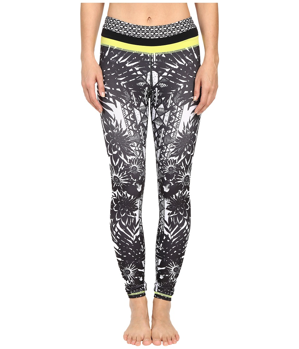 Pink Lotus - Floral Burst Locate Printed Leggings with Contrast Band (Black/White) Women's Casual Pants