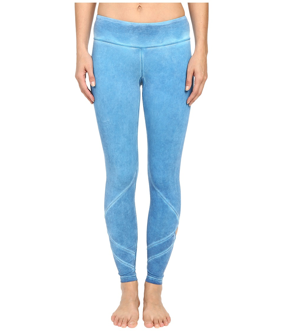 Pink Lotus - Exotic Forest Empower Oil Wash Performance Leggings w/ Calf Cut Out (Sky Blue) Women's Casual Pants