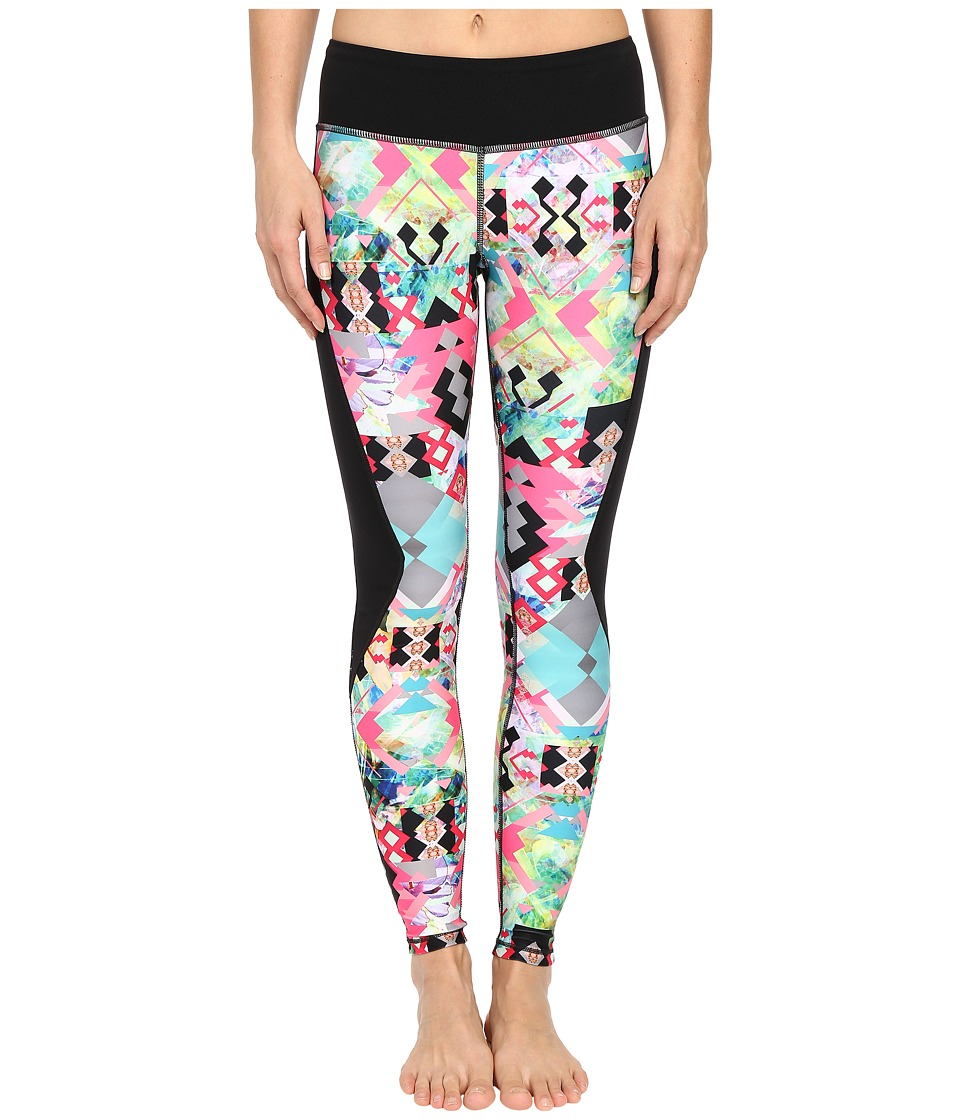 Pink Lotus - Hawaii Tribe Contrast Performance Leggings (Passion Fruit) Women