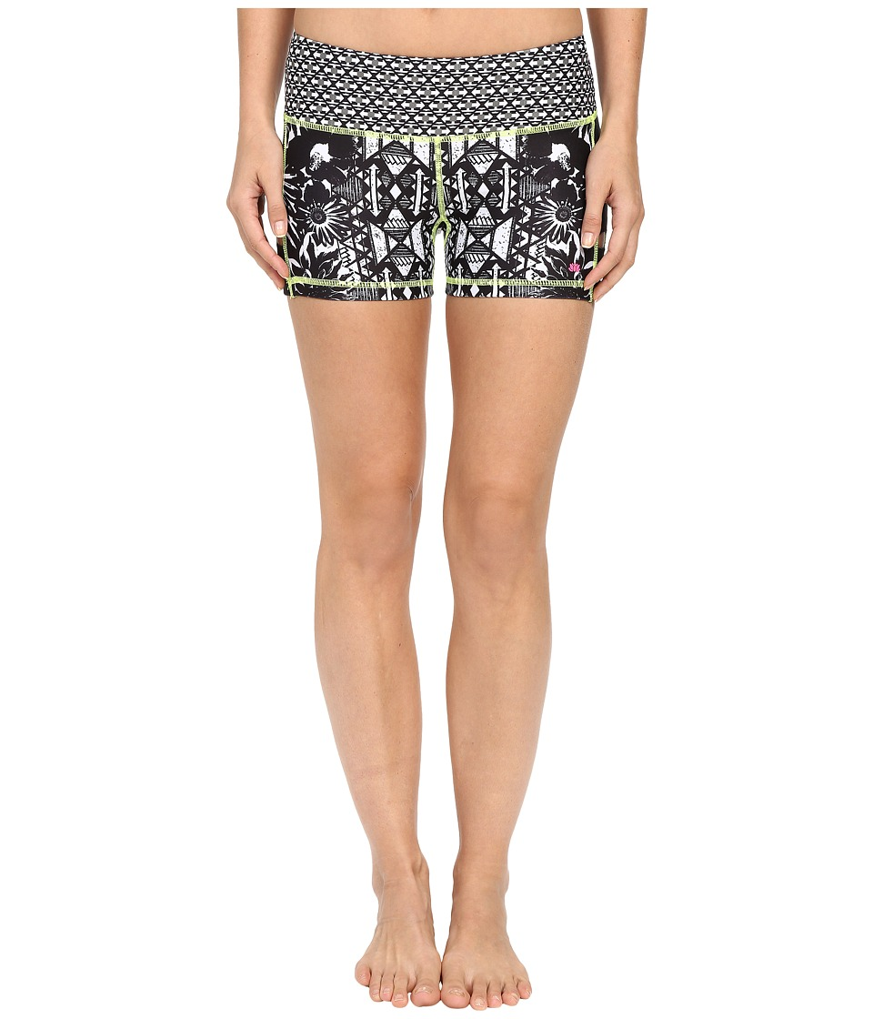 Pink Lotus - Floral Burst Lead Two-Tone Print Shorts (Black/White) Women's Shorts