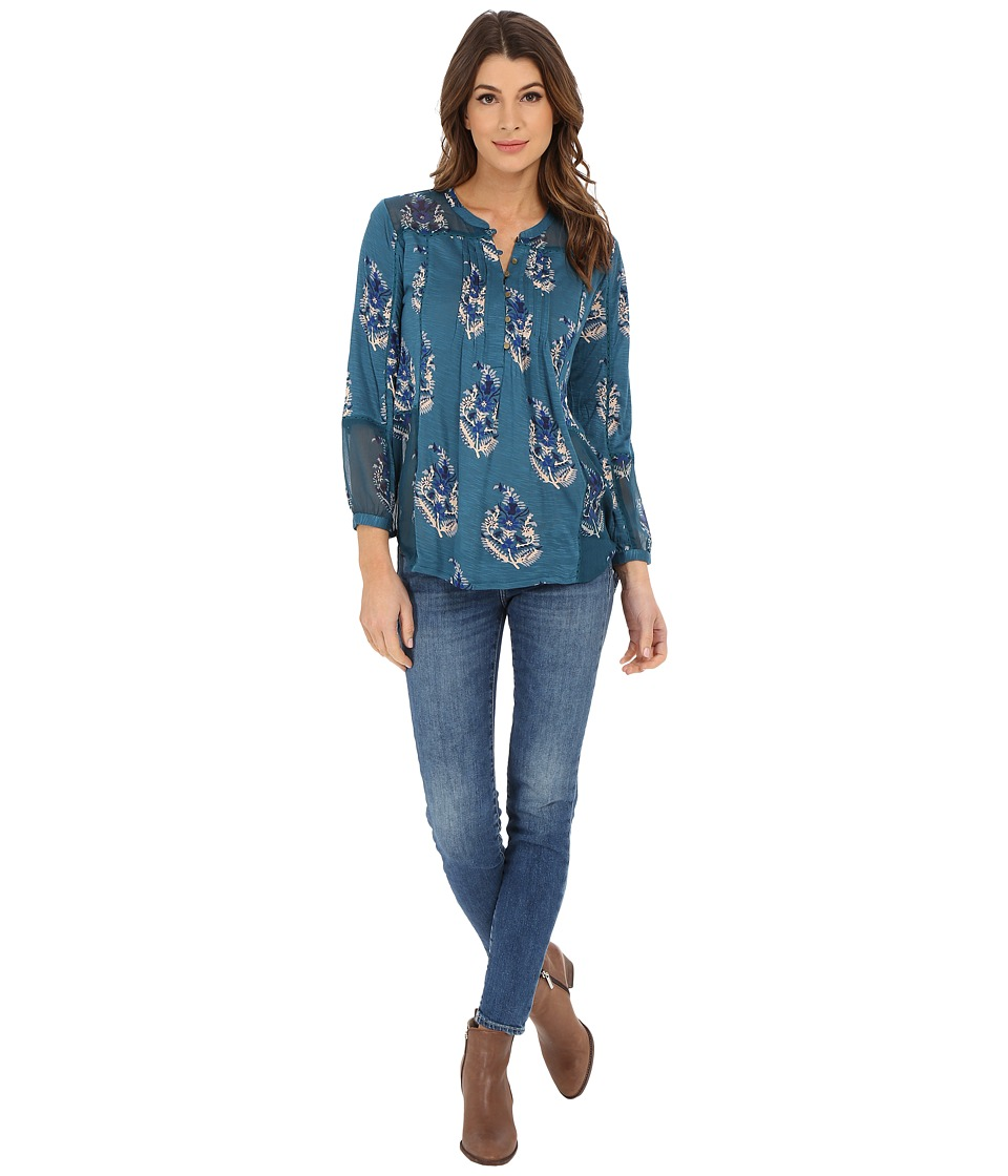 Lucky Brand - Paisley Print Mixed Fabric Henley (Teal Multi) Women's Blouse