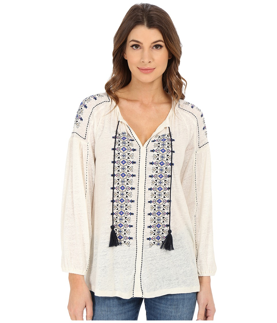Lucky Brand - Embroidered Peasant Top (Whisper White) Women's Clothing