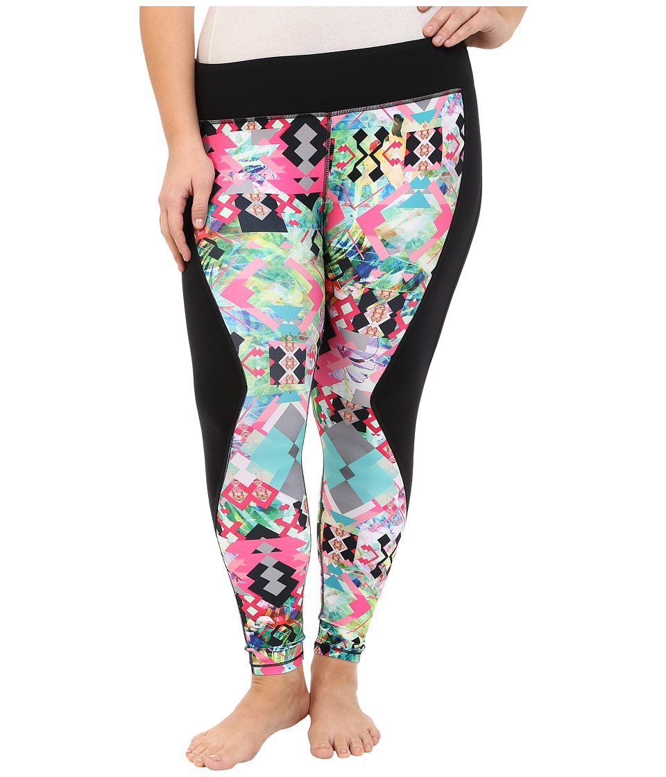 Pink Lotus - Plus Size Hawaii Tribe Contrast Performance Leggings (Passion Fruit) Women