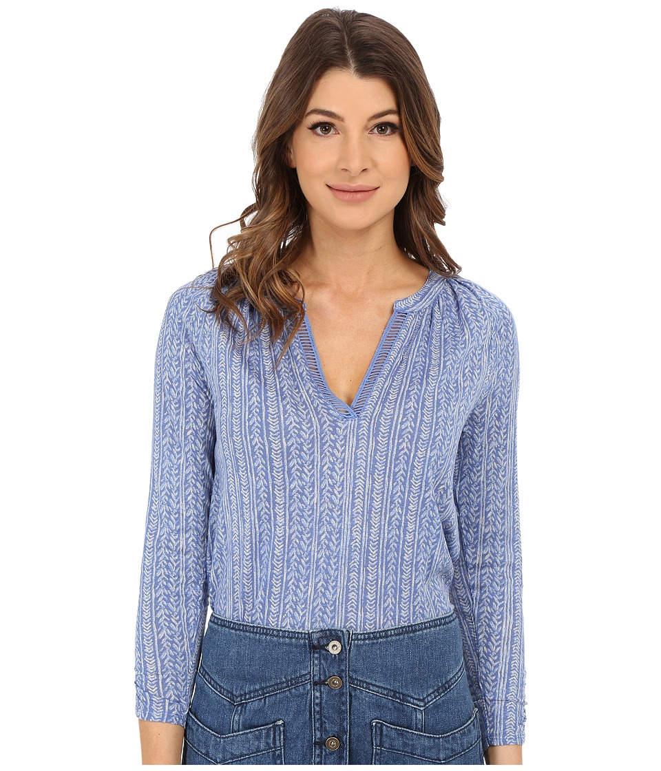 Lucky Brand - Woodblock Vines Top (Blue Multi) Women's Blouse