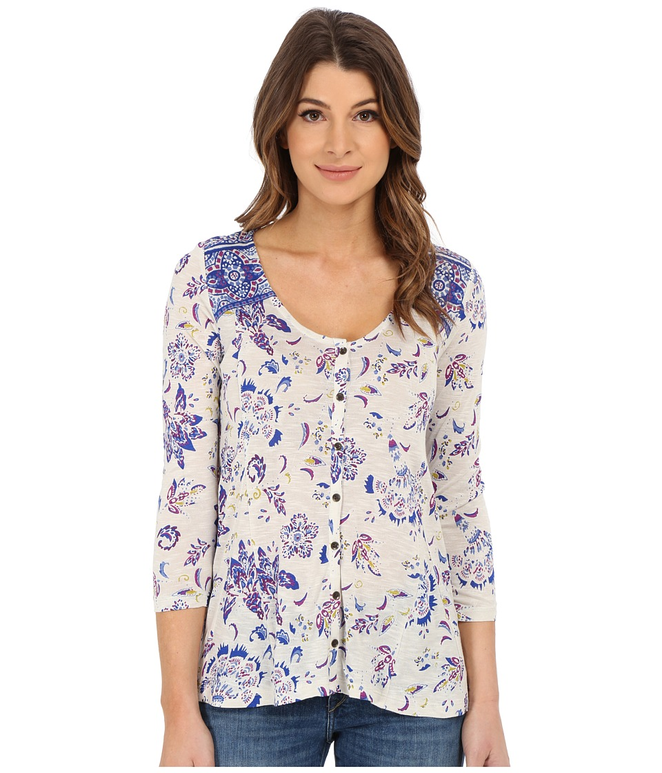 Lucky Brand - Floral Border Top (Multi) Women's Clothing