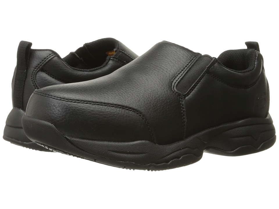 SKECHERS Work - Felton Calpet (Black Leather) Women's Slip on Shoes