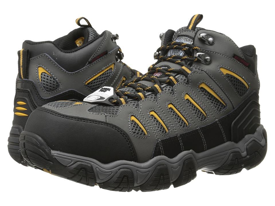 SKECHERS Work - Blais Bixford (Dark Gray Action Nubuck/Mesh) Men's Lace up casual Shoes