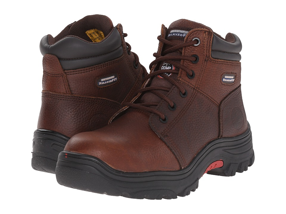 SKECHERS Work - Burgin (Dark Brown Pitstop) Men's Lace-up Boots