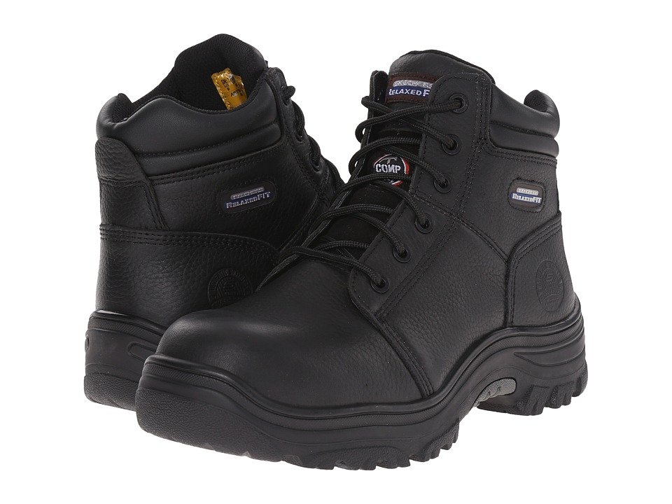 SKECHERS Work - Burgin (Black Pitstop Oiled) Men's Lace-up Boots
