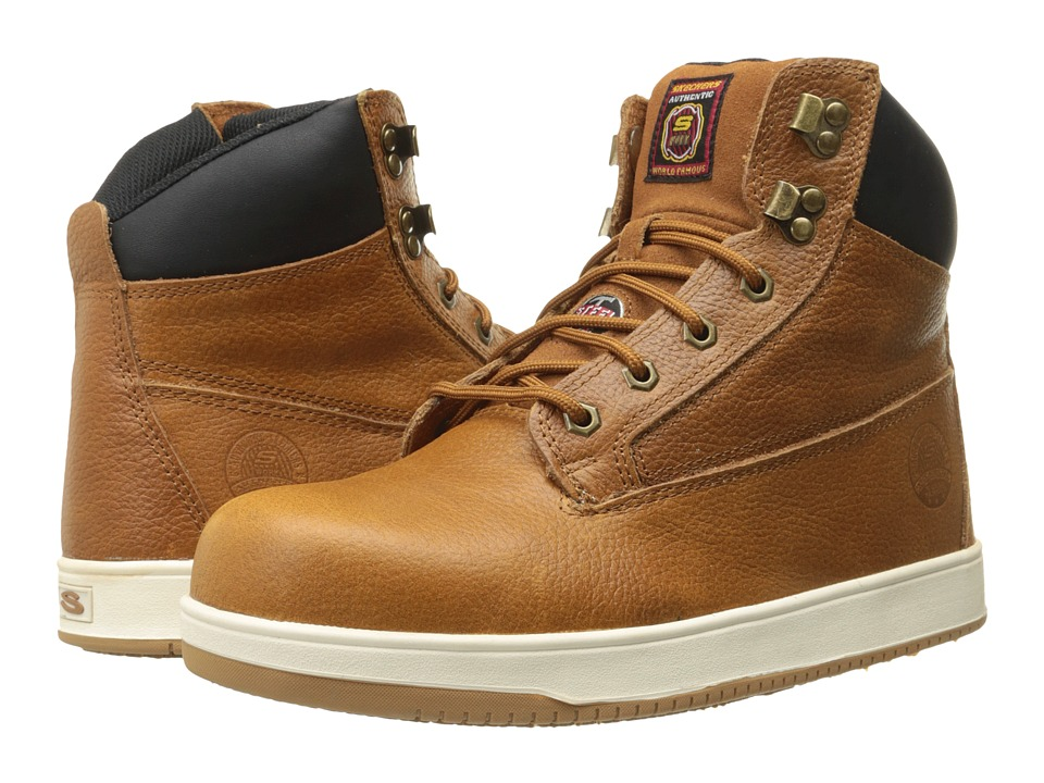 SKECHERS Work - Ossun Sebree (Peanut Color Embossed Leather) Men's Work Lace-up Boots
