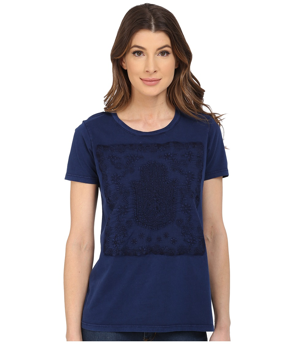 Lucky Brand Embroidered Hamsa Hand Tee (American Navy) Women