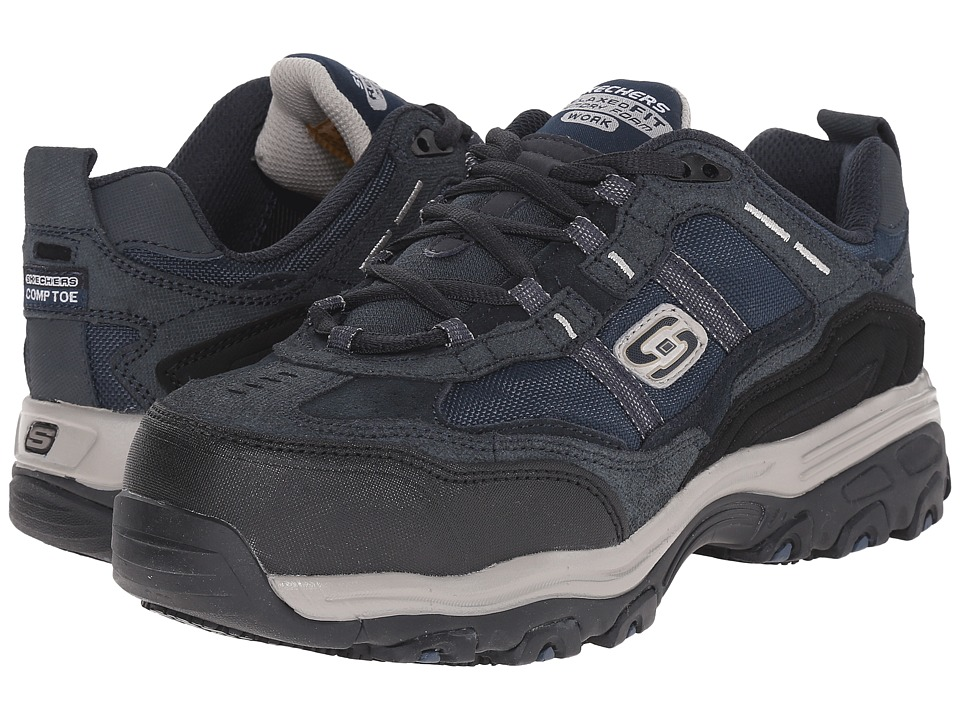 SKECHERS Work - D'lite SR Tolland (Navy Blue Suede) Women's Lace up casual Shoes
