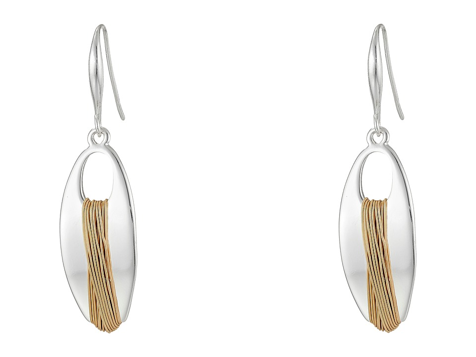 Robert Lee Morris - Wire Wrap Oval Drop Earrings (Two-Tone) Earring