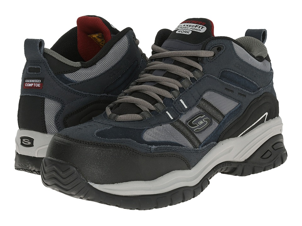 SKECHERS Work Soft Stride Canopy (Navy Blue Suede/Grey Mesh) Men