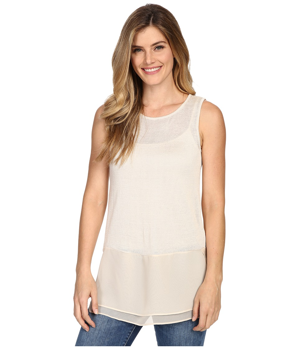 NIC+ZOE - Chiffon Trim Tank Top (Sandshell) Women's Sleeveless