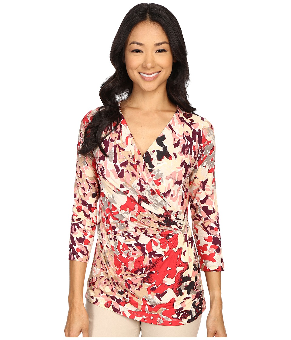 NIC+ZOE - Petal Showers Wrap Top (Multi) Women's Clothing