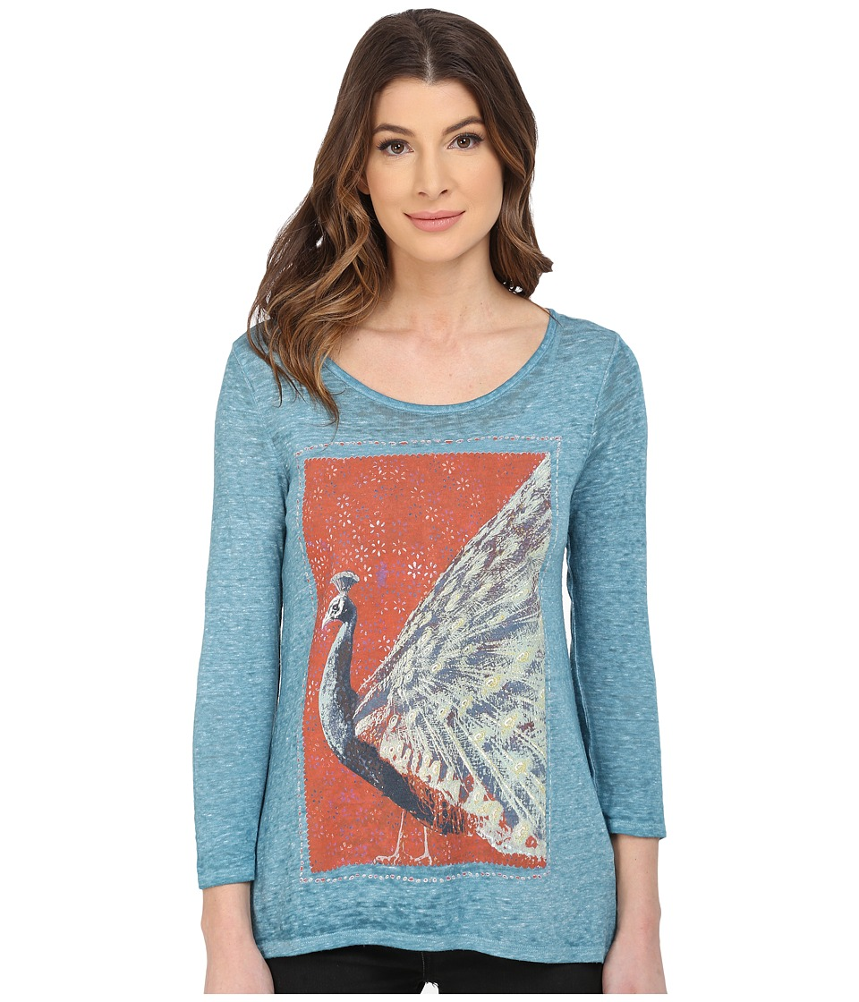 Lucky Brand - Peacock Matchbook Tee (Turquoise) Women