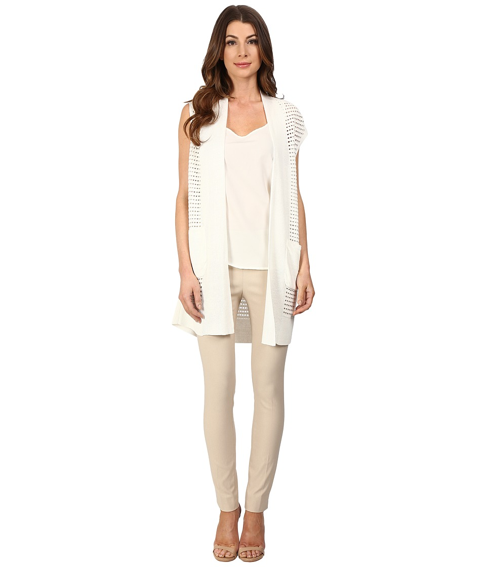 NIC+ZOE - Open Stitched Vest (Milk White) Women's Sweater