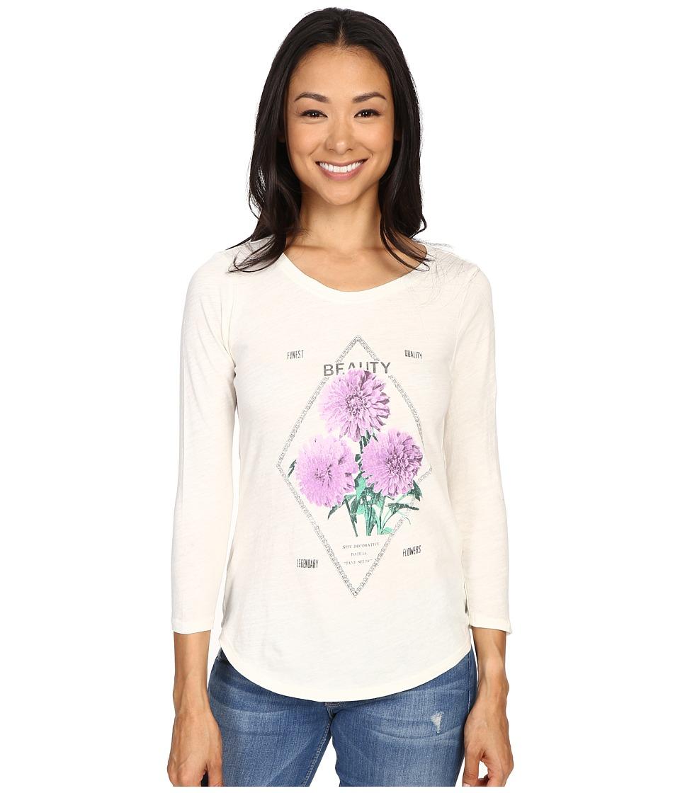 Lucky Brand - Modern Floral Matchbook Tee (Marshmallow) Women's Long Sleeve Pullover