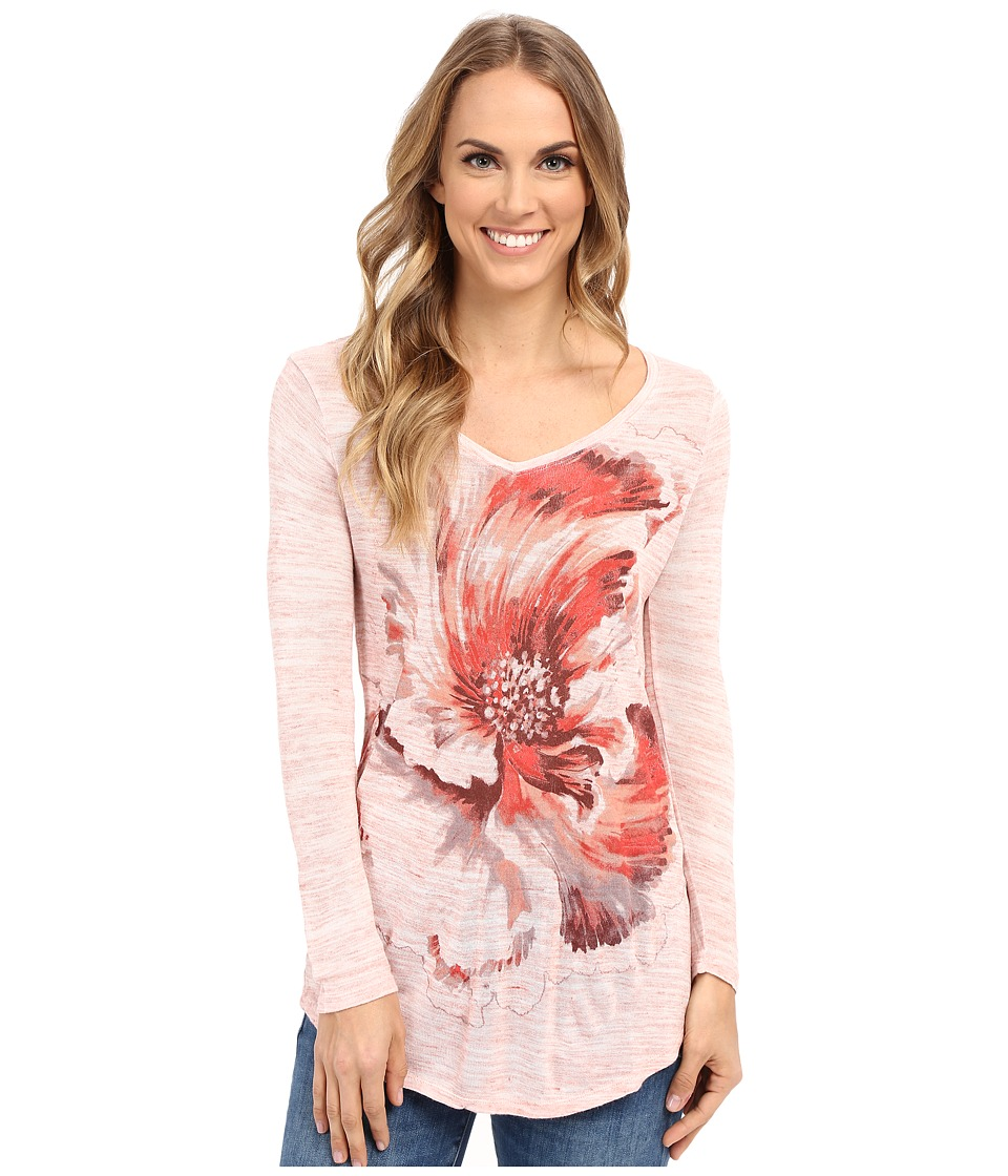 Lucky Brand Painted Floral Tee (Coral Almond) Women