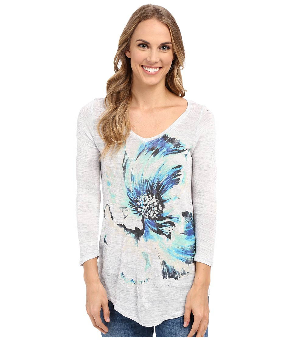 Lucky Brand - Painted Floral Tee (Light Grey) Women