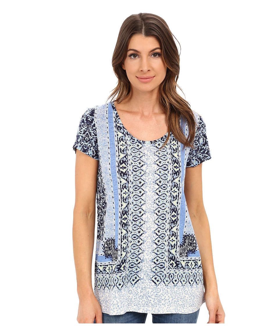Lucky Brand - Scarf Print Tee (Blue Multi) Women's T Shirt