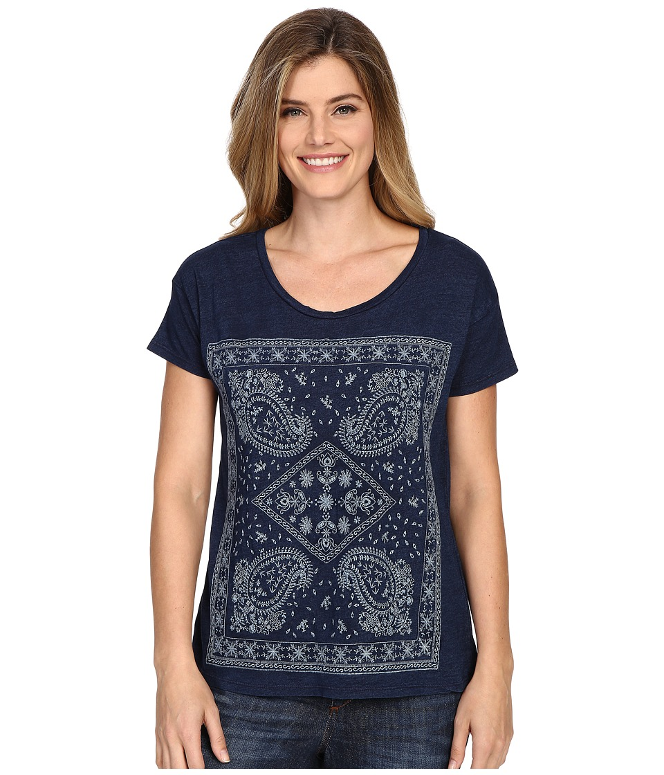 Lucky Brand Embroidered Bandana Tee (Indigo) Women