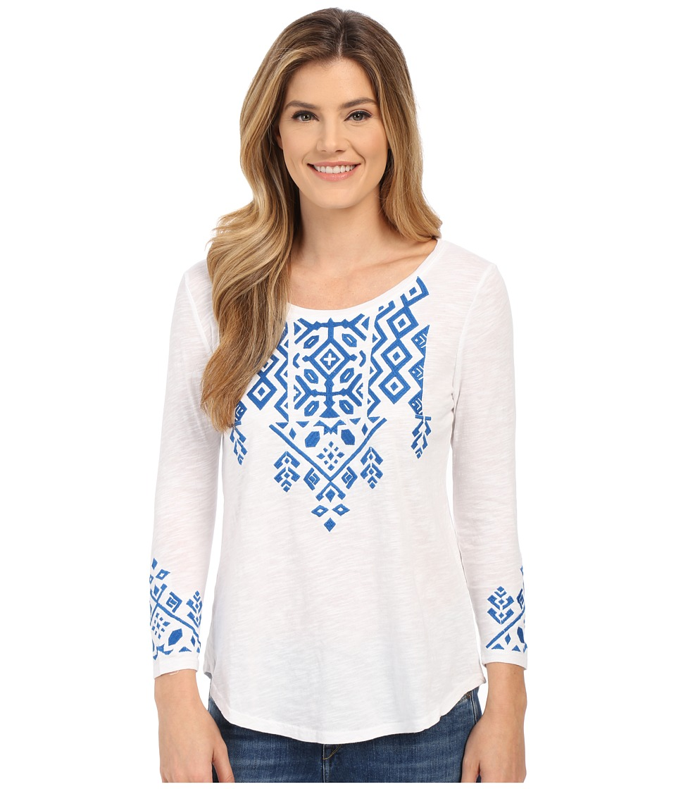 Lucky Brand - Tile Embroidered Tee (Bright White) Women